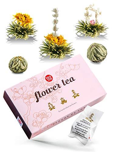 Teeblumen das Geburtstags Geschenk für Frauen in edler Geschenkverpackung, grüner Tee im Geschenkset, die Alternative zu Blumen