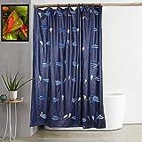 Kuber Industries Leaf Design 7 Feet Shower Curtain with 8 Hooks (Blue)-CTKTC030378