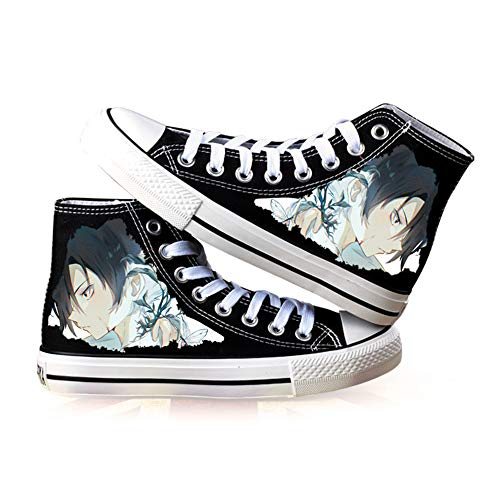 JPTYJ The Promised Neverland High Top Graffiti Unisex High Top Zapatos Anime Casual Shoes Estudiantes Canvas Shoes Sneakers C-35