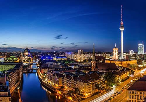 wandmotiv24 Fototapete Berlin skyline XS 150 x 105cm - 3 Teile Fototapeten, Wandbild, Motivtapeten, Vlies-Tapeten Großstadt, Deutschland M0290