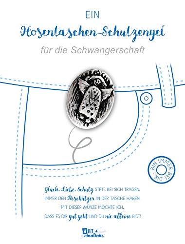 ART + emotions Hosentaschen Schutzengel für die Schwangerschaft - 925 versilbert - Glücksbringer Talisman Trostspender Mutmacher