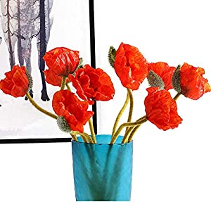 Artfen 5 Pcs Artificial French Corn Poppy Silk Poppy Flocking Long Stem Flowers Home Wedding Party Decor 25″ High No Vase Sunset Orange