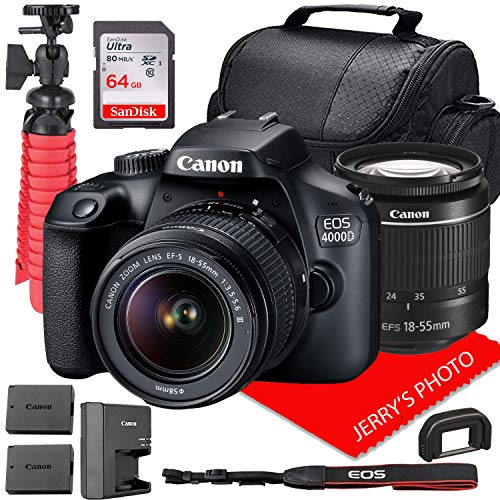 Canon EOS 4000D DSLR Camera w/Canon EF-S 18-55mm F/3.5-5.6 III Zoom Lens + Case + 64GB SD Card + Spare Battery (14pc Bundle)