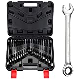BULLTOOLS 22-Piece Ratchet Wrenches Chrome Vanadium Steel Ratcheting Wrench Set with Metric and SAE 72-Tooth Box End and Open End Standard Wrench Set with Organizer Box