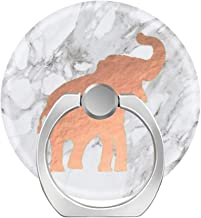 360 Rotation Cell Phone Ring Holder Stand,Finger Ring Grip with Car Mount Hooks for Smartphones and Tablets-Cute Rose Gold Elephant on White Marble
