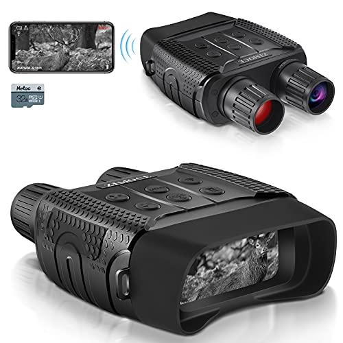 Nachtsichtgerät ZIMOCE, WLAN IR Nachtsichtbrille 300M Nachtsicht Entfernung 960P Wildkamera Binokular mit integrierter 7-stufiger Infrarotbeleuchtung mit 32G Speicherkarte