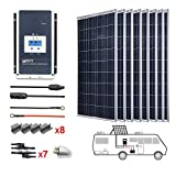 ACOPOWER 800 Watts 12/24 Volts 8PCS 100watts Polycrystalline Panel Solar RV Kits with 60A MPPT LCD Charge Controller/Mounting...