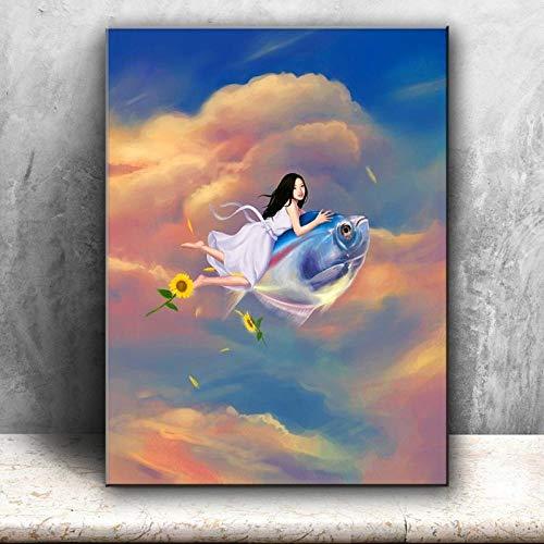 kldfig Pastoral Cartoon schattige meisjes vis vliegen bloemen canvas print gedrukt kinderkamer muurkunst afbeelding voor de woonkamer decoratie - 50x70cm niet ingelijst