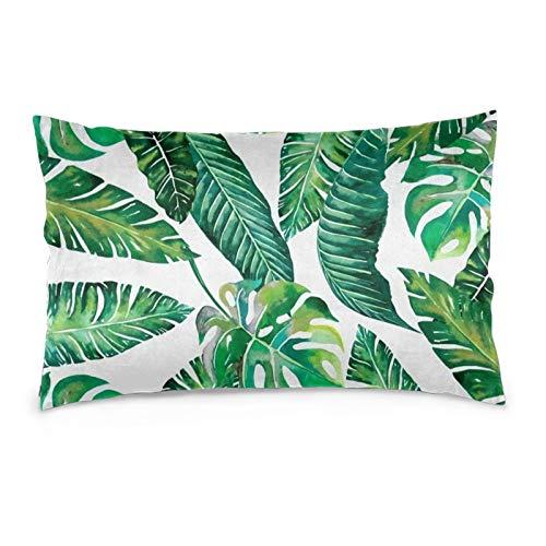 Fundas de cojín de terciopelo rectangulares fundas de almohada suaves decorativas para sofá, dormitorio, coche, 40,6 x 60,9 cm (hojas de jungle)