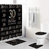 LONSANT Duschvorhang Set,Black Photo Studio Stand VIP Alles Gute zum 30. Geburtstag,Rutschfesten Teppichen Toilettendeckel & Badematte Wasserdichter Duschvorhang für mit 12 Haken