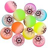 Elcoho 12 Pieces Halloween Bouncing Balls Glow in The Dark Bouncing Eyeballs Halloween Theme Eyeballs for Halloween Favor Supplies