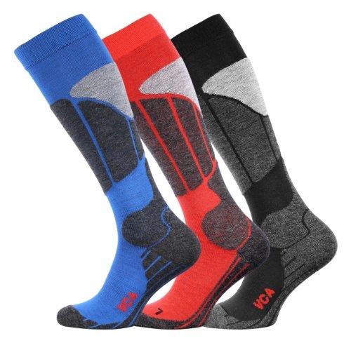 VCA® - Calzettoni da sci e snowboard altezza ginocchio con imbottitura speciale unisex per uomo e donna nero/grigio 35-38