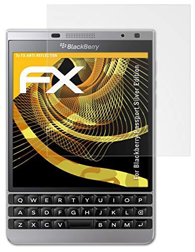 atFolix Panzerfolie kompatibel mit BlackBerry Passport Silver Edition Schutzfolie, entspiegelnde & stoßdämpfende FX Folie (3X)