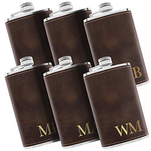 Set of 6 - Personalized Flask, Custom Groomsmen Gifts for Wedding - Leatherette Liquor Flask for Men, Groomsman Proposal - Rustic #3