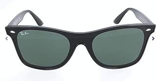 Ray-Ban RB4440N Blaze Wayfarer Sunglasses, Matte Black/Green, 41 mm