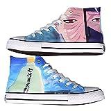 NXMRN Naruto Zapatos De Lona Negros Impresos para Hombre Todos Los Zapatos Vulcanizados Zapatos De Skate Casuales para Mujer Zapatillas De Deporte-41