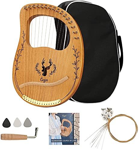 Vogvigo Instrument de Harpe Lyre Lyre Harpe 16 Cordes Harpe Lye Acajou pour les Amateurs de Musique...