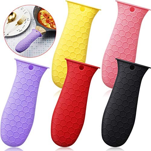 5 Pieces Silicone Hot Handle Cover Handle Holder Sleeve Heat Resistant Pot Handle Cover Machine product image