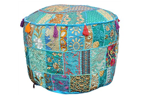 MyCrafts Indian Living Room Pouf, Foot Stool, Round Ottoman Cover Pouf,Traditional Handmade Decorative Patchwork Ottoman Cover Turquoise Colour,Indian Home Decor Cotton Cushion Ottoman Cover 13x18
