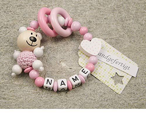 Baby Greifling Beißring geschlossen mit Namen - individuelles Holz Lernspielzeug als Geschenk zur Geburt Taufe - Mädchen Motiv Bär und Herz in weiss
