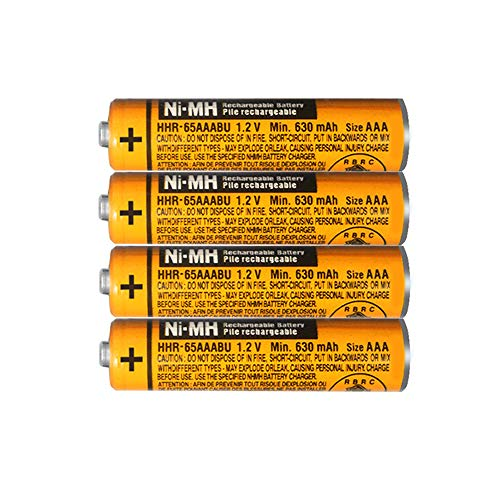 4 x Pilas Recargables AAA 630 mah 1.2v para Panasonic, Baterias Recargables NiMH para Telefonos Inalambricos