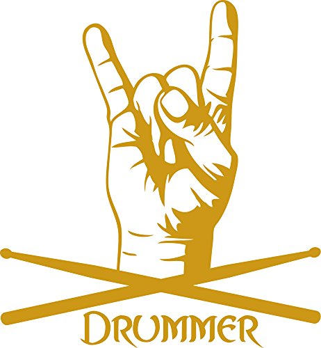 GRAZDesign 600212_30_820 Wandtattoo Spruch Drummer | Wandsticker Wohnzimmer (32x30cm//820 Mustard)