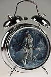 Winter Guardians White Wolf Art Alarm Clock By Anne Stokes (17x10cm)