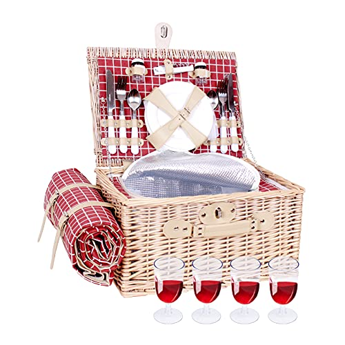 Willow Picnic Basket Set for 4 Person Wicker Hamper Sets with Picnic Blankets, Picnic Cutlery Service Kit, Insulated Cooler Compartment, Best Gifts for Couples, Family, Camping,Outdoor Party - Brown
