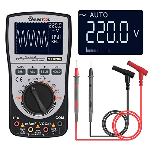 MUSTOOL Upgraded MT8206 2in1 Intelligent Digital Oscilloscope Multimeter Current Voltage Resistance Tester with Analog Bar Graph