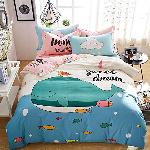Erbaeo Bedding Set And Fitted Sheet Double Size 4 Pieces - Cartoon Animal Whale - Brushed Microfiber Duvet Cover With Pillowcases With 30Cm Deep Pocket Bed Sheet Soft Duvet King: 240X220Cm