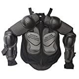 TDPRO Kids Full Body Armor Protective Jacket | Children Breast Chest Spine Protector Motorcycle Motocross Dirt Bike Racing Skiing Skating Sports ATV Safety Gear Guard Black (M)