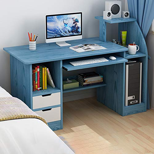 GORVELL Blue Computer Desk, Desk with 2 Drawers Shelves Storage Cabinet, Laptop Table, Study Table, Writing Desk, PC Gaming Workstation,Home Office,L113x W45 x H72cm