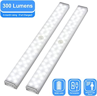 CHINLY LED Closet Lights, 60 LED Rechargeable Stick-on Wireless 300 Lumens Motion Sensor Under Cabinet Light with 3000mAh Battery & Magnetic Tap for Closet, Cabinet, Wardrobe, Kitchen(2 Pcs)