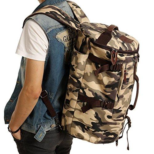 Sincere® la mode Fashion Backpack / Zipper Sacs à dos / Rue / Multifonction / grande capacité sac à bandoulière / rétro sac à dos de toile des hommes / extérieur escalade sac / seau sac camouflage 1