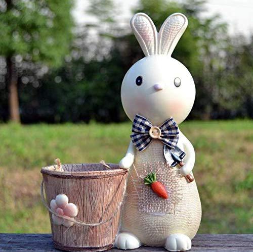 Gwill Pastoral de dibujos animados conejo pluma titular dinero banco escritorio figuras creativas moda estudiante regalos oficina estudio decoración decoración del hogar