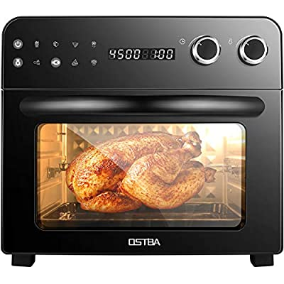 OSTBA Air Fryer Oven 8-in-1 Convection Toaster Oven, Air Fryer, Roaster, Broiler, Rotisserie, Dehydrator, Oven, Toaster, Pizza Oven, Keep Warm, 6 Accessories with Recipe Cookbooks, LED Display, 1700W, 24 Quart, Black