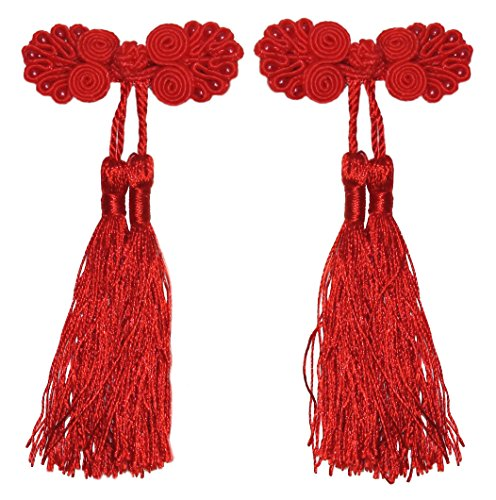 Lucore Chinese Ribbon Girls Hairpins, 2 PC Knot & Tassel Princess Mini Costume Hat & Hair Decoration (Red)