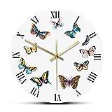 Farfalle colorate con numeri romani Orologio da parete moderno Camera da letto Cucina Orologio da parete silenzioso Orologio da parete Farfalle Idea regalo