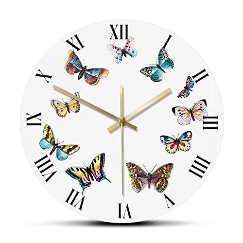 gongyu Wanduhr Digitale Bunte Schmetterlinge mit römischen Ziffern Moderne Wanduhr Schlafzimmer Küche Stille Hängende Uhr Wanduhr Schmetterlinge Geschenkidee Geeignet Für Wohnzimmer Schlafzimmer