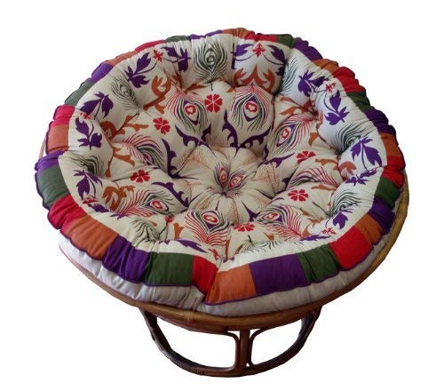 Cotton Craft Overstuffed Round Papasan Cushion, Floral Chocolate