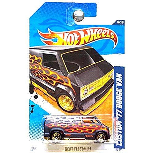 Hot Wheels 2011 Custom '77 Dodge Van with Red/Gold Flames Decal 96/244 Green Lantern Promo Variant 6/10