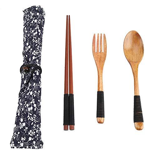 Fdit Lot de 4 fourchettes en bois avec sac de voyage pour pique-nique, école, camping et maison (Noir)