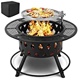 HEMBOR 32''/36'' XL Fire Pit with Cooking Grill, 2-in-1 Wood Burning Fire Bowl, Outdoor Portable Fireplace w/ Adjustable&360°Swivel BBQ Grate, Log Rack,Poker,Rainproof Cover for Patio, Bonfire
