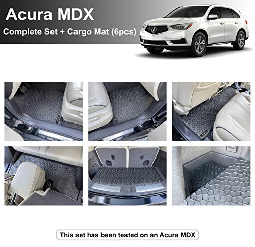 YelloPro Custom fit Heavy Duty Complete Set & Cargo Floor Mat (6pcs) Accessories for Acura MDX - 2014 2015 2016 2017 2018 2019 2020 - All Weather Anti-Slip Black Rubber [Made in USA]
