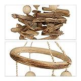 Relaxdays Windspiel mit Muscheln, maritimes Holz Klangspiel für Balkon, Garten-Deko, Capizmuschel Mobile, 107 cm, natur - 7