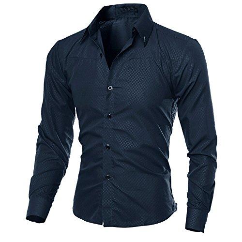 Skxinn Elegantes Herren Gitter Hemd Langarm Kent Kragen Slim Fit| Männer Freizeithemd Langarmhemd | Basic Hochzeitshemd Langarmshirt Blouse Herbsthemd, Größe S-3XL Ausverkauf(Marine,Large)