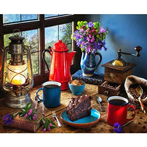 WLYUE Malen nach Zahlen Ecke des Schreibtisches Stillleben Wandkunst Geschenk DIY Bilder nach Zahlen Leinwand Kits Home Decoration