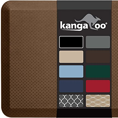 Kangaroo Original Standing Mat Kitchen Rug, Anti Fatigue Comfort Flooring, Phthalate Free, Commercial Grade Pads, Ergonomic Floor Pad for Office Stand Up Desk, 70x24, Mocha