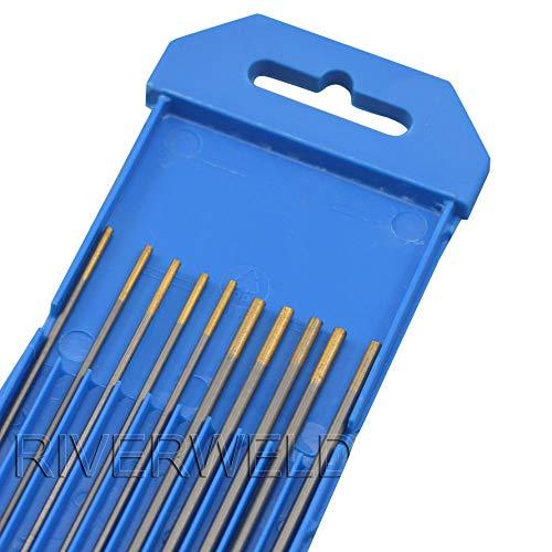 1,5 porcentaje Lanthanated WL15 oro TIG electrodo de tungsteno 1,6mm x 150mm y 2,4mm x 150mmpulgadas, 10Pcs