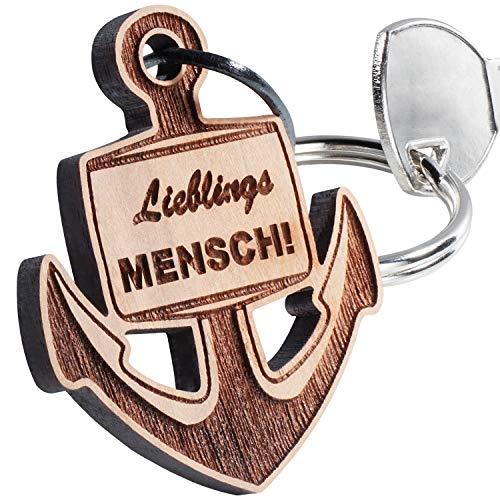 Schlüsselanhänger Lieblingsmensch Anker mit Gravur - Holz Anhänger – Glücksbringer Geschenk für Männer und Frauen - persönliches Geburtstagsgeschenk